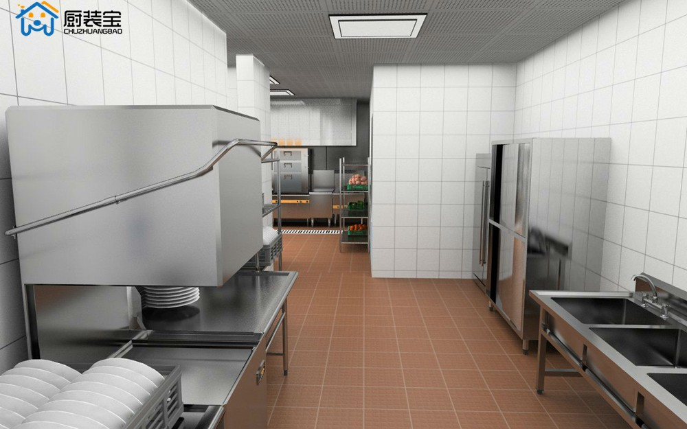 酒店厨房后厨内景设计效果图